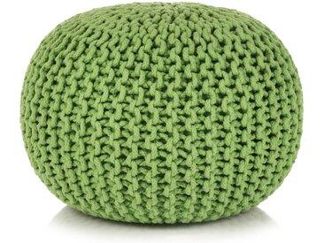 Pouf tricoté à la main Coton 50 x 35 cm Vert - vidaXL