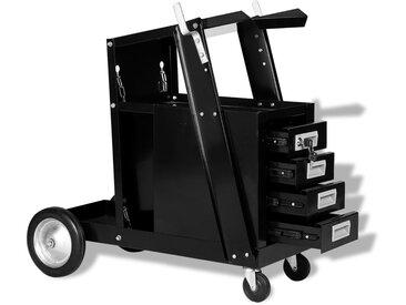 Chariot de soudage avec 4 tiroirs Noir - vidaXL