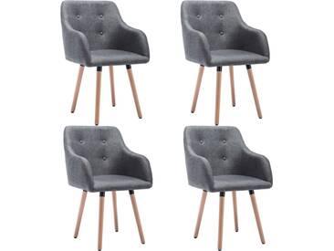 Chaise à dîner 4 pcs Revêtement en tissu 55x55x84 cm Gris clair - vidaXL