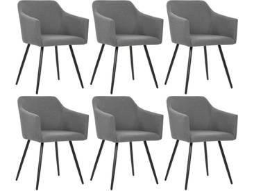 Chaise de salle à manger 6 pcs Gris clair Tissu - vidaXL