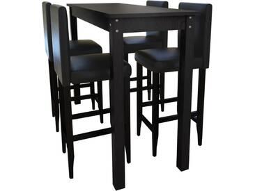 Set de 1 table de bar et 4 tabourets noir - vidaXL