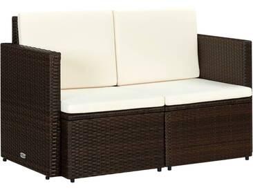Canapé de jardin à 2 places avec coussins Marron Résine tressée - vidaXL