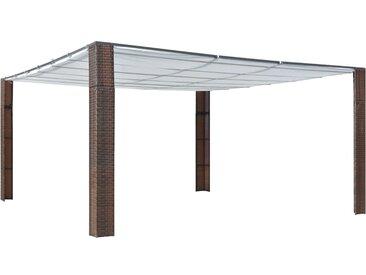 Tonnelle avec toit Résine tressée 400x400x200cm Marron et crème - vidaXL