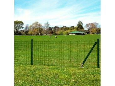 Jeu de clôture avec des piquets de sol 10 x 1 m Acier Vert - vidaXL