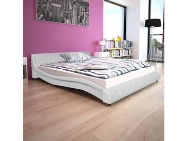 Cadre de lit Cuir synthétique 160 x 200 cm Blanc - vidaXL