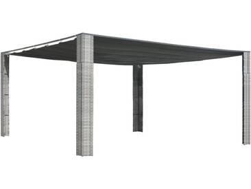 Tonnelle avec toit coulissant 400x400x200 cm Gris / anthracite - vidaXL