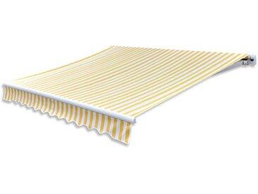 Auvent pliable 300 cm Jaune et blanc - vidaXL
