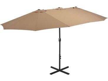 Parasol d'extérieur et poteau en aluminium 460 x 270 cm Taupe - vidaXL