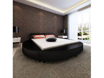 Cadre de lit rond 180 x 200 cm Cuir artificiel noir - vidaXL eb923ceb7e4e