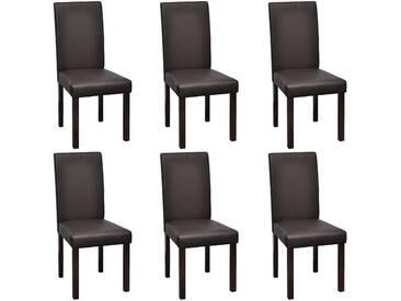 Chaise de salle à manger 6 pcs Similicuir Marron - vidaXL