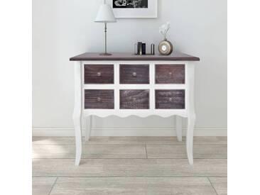 Armoire de console 6 tiroirs Marron et blanc Bois - vidaXL