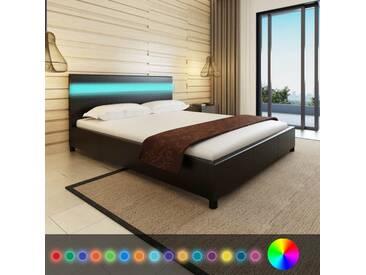 Lit en cuir artificiel noir avec tête de lit LED 200 x 160 cm - vidaXL