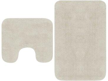 Jeu de tapis de salle de bain 2 pcs Tissu Blanc - vidaXL