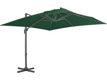 Parasol en porte-à-faux avec mât en aluminium 400x300 cm Vert - vidaXL
