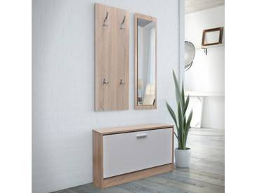 Vestiaire dentrée 3 éléments en bois Blanc et aspect chêne  - vidaXL