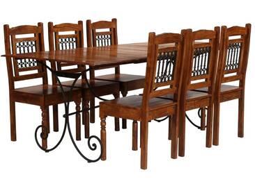 Jeu de salle à manger 7 pcs Acacia massif et finition de Sesham - vidaXL