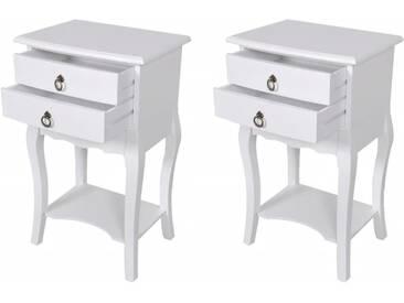 Tables de chevet avec tiroirs 2 pcs Blanc - vidaXL