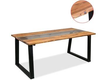 Table de salle à manger Bois dacacia et verre 180 x 90 x 75 cm - vidaXL