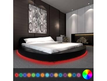 Cadre de lit rond avec LED 180 x 200 cm Cuir artificiel Noir  - vidaXL