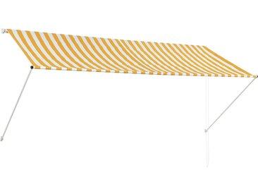 Auvent rétractable 300x150 cm Jaune et blanc - vidaXL