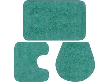 Jeu de tapis de salle de bain 3 pcs Tissu Turquoise - vidaXL