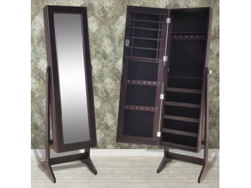 Armoire à Bijoux avec miroir Brun - vidaXL