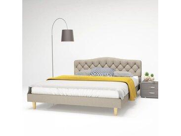 Cadre de lit Tissu avec base à lattes 160 x 200 cm Beige - vidaXL