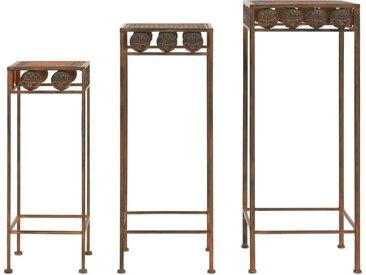 Set de supports de plantes 3 pcs Style vintage Métal rouillé  - vidaXL