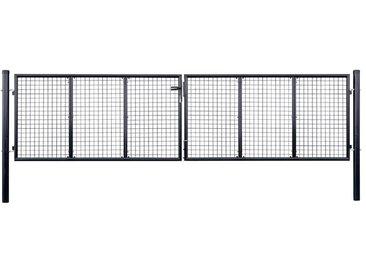 Portail en maille de jardin Acier galvanisé 400 x 100 cm Gris  - vidaXL
