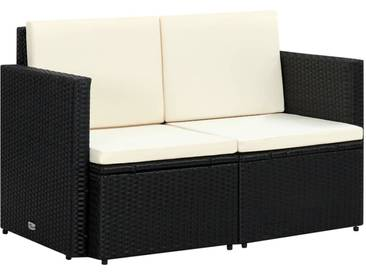 Canapé de jardin à 2 places avec coussins Noir Résine tressée - vidaXL