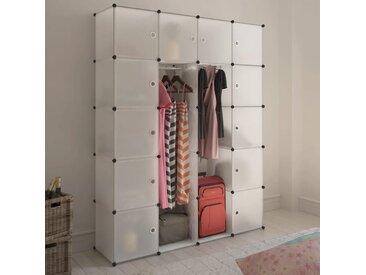 Cabinet modulable avec 14 compartiments blanc 37x146x180,5 cm - vidaXL