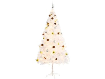Arbre de Noël artificiel décoré boules LED de Noël 180cm Blanc - vidaXL