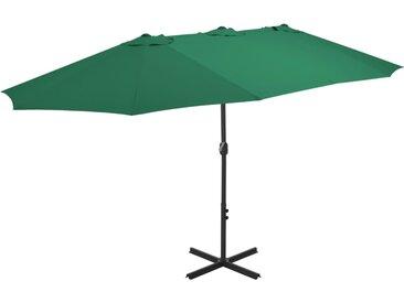 Parasol d'extérieur et mât en aluminium 460 x 270 cm Vert - vidaXL