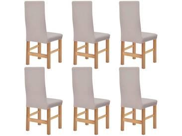 housse de chaise en polyester tricoté extensible 6 pcs beige - vidaXL