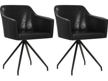 Chaise pivotante de salle à manger 2 pcs Noir Similicuir - vidaXL