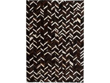 Tapis Cuir véritable Patchwork 160 x 230 cm Chevron Noir/Blanc  - vidaXL