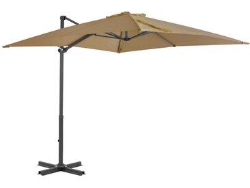 Parasol en porte-à-faux et mât en aluminium 250x250 cm Taupe - vidaXL