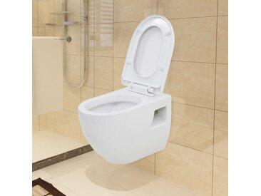 WC suspendu en céramique Blanc - vidaXL
