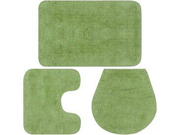 Jeu de tapis de salle de bain 3 pcs Tissu Vert - vidaXL