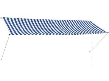 Auvent rétractable 350x150 cm Bleu et blanc - vidaXL