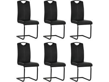 Chaise de salle à manger 6 pcs Cuir artificiel 43x55x100cm Noir - vidaXL