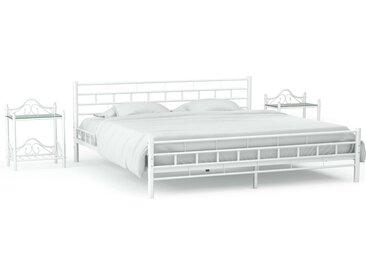 Cadre de lit avec 2 tables de chevet Blanc Métal 140x200 cm - vidaXL