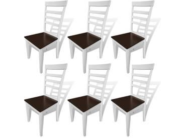 Chaise de salle à manger 6 pcs Bois massif Marron et blanc  - vidaXL