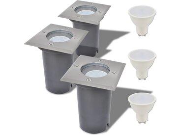 Lampe LED encastrable au sol d'extérieur 3 pièces Carré - vidaXL