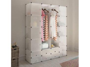 Cabinet modulable avec 18 compartiments blanc 37x146x180,5 cm - vidaXL