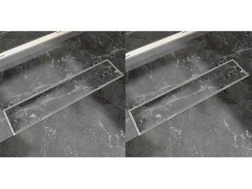 Drain de douche linéaire 2 pcs 530 x 140 mm Acier inoxydable - vidaXL