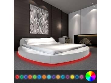 Cadre de lit avec LED 180 x 200 cm Rond Cuir artificiel Blanc  - vidaXL