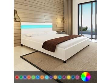 Lit avec LED 160 x 200 cm Cuir artificiel Blanc  - vidaXL