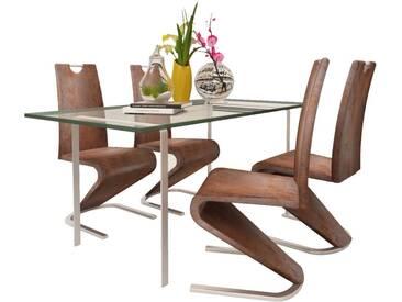 Chaise de salle à manger 4pc Cantilever Cuir synthétique Marron  - vidaXL