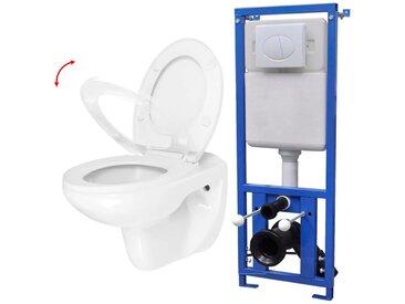 Toilette avec réservoir et siège à fermeture en douceur Blanc - vidaXL